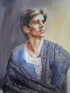 Xander Parish, Watercolour portrait ,The Mariinsky Ballet. This is while I was attending dress rehearsal for Romeo and Juliet at The Royal Opera House. I wanted to paint a traditional portrait with a twist. For Xander's cloak I used vintage pages of William Shakespeare Romeo and Juliet to show how he superbly encapsulated the role. @zoejameswilliams.com