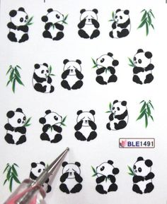 Buy 2 get 1 Free. Panda and Bamboo Nail decal by tigerlilies, $2.30