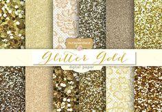 Glitter Gold digital paper by burlapandlace on Creative Market