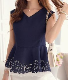 Ladylike V-Neck Blue Hollow Out Sleeveless Blouse For Women