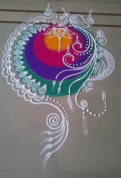 Latest Rangoli Designs for diwali. Indian Rangoli Designs, Rangoli Designs Latest, Rangoli Designs Flower, Latest Rangoli, Rangoli Border Designs, Rangoli Patterns, Rangoli Colours, Rangoli Ideas, Flower Rangoli
