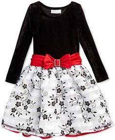 Bonnie Jean Little Girls' Contrast Floral Dress