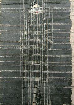 hinke schreuders works on paper #26  ·  2011  ·  garen en inkt op papier op doek  ·  25,5 x 17 x 5,5 cm  ·  particuliere collectie