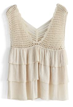 Tiered Crochet Tank Top - Retro, Indie and Unique Fashion