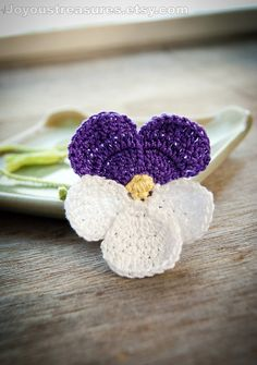 Handmade Crochet Bookmark Violet Pansy Flower by joyoustreasures