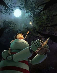 The Release Picture  (2d, illustration, robot, moon, child)