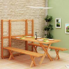 壁面にフラットに収納できるテーブルとベンチのセット1