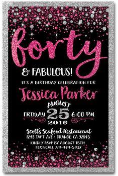 Pink black forty and fabulous 40th birthday invitations di 445 pink black forty and fabulous 40th birthday invitations di 445 custom filmwisefo