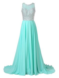 Beyonddress Women's Sheer Crewneck Beaded Crystals A-Line Chiffon Long Prom Dress Size 26W Teal Blue. Chiffon fabric;Dry clean only. Sheer Crew neckline with Sleeveless design. Beaded Rhinestones Embellishment; Built-in Bra. Suitable as prom dresseses, Sweet 16 dresses, Prom Dresses, Wedding party dresses and other formal dresses. Pleated long A-line Style. Zipper Closure.