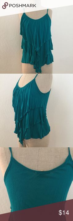 Turquoise Layered Tank Worn a handful of times, still in good condition. There is  minimal pilling. Most of it is on the inside and not visible when worn.  💕Check out more of my listings: Victoria's Secret, PINK, Michael Kors, Nike, ASOS, Topshop, Paige Denim, Anthropologie, VINCE, Torrid, J.Crew and so much more!💕 Forever 21 Tops Tank Tops
