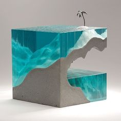 Solitary Glas Sculpture by artist Ben Young from New Zealand made from beautiful laminated float glass, cast concrete and bronze, a truly designed art piece Concrete Sculpture, Concrete Art, Art Sculpture, Wood Resin, Resin Art, Mosaic Glass, Glass Art, Memes Arte, Beton Design