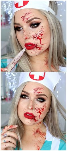 blood splatter tutorial - sexy nurse makeup for halloween @xoshaaan