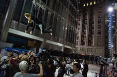 """Shailene Woodley on the set of """"Divergent"""", 2014.  If you're looking for a film that features Chicago in a post-apocalyptic world, then this is the film for you.  Woodley plays Tris who takes an amazing zip line ride from the top of the John Hancock Building, down Michigan Ave, to a point near the Prudential Building."""