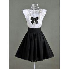Ruffled Nipped Waist Sleeveless Color Block Women's DressVintage Dresses | RoseGal.com