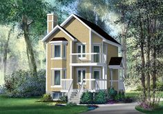 House Plan 49836 | Craftsman Narrow Lot Plan with 1080 Sq. Ft., 2 Bedrooms, 2 Bathrooms at family home plans