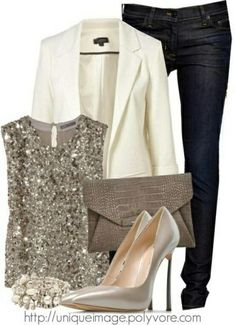 Something like this would be cute for vegas, I love the white jacket...but maybe a bright color as I would never wear white for fear of getting it filthy, sparkly shirt is cute too. -HP