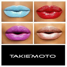 THE LIP COLLECTION   Colours Shown: OBAMA -blue, SAMURAI -red,  AMI -purple,  SAKE -nude shimmer   available at www.takiemoto.com