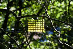 Richard Shilling|Variegated Oak Leaf Curtain  Squares of variegated oak leaves stitched together with thorns