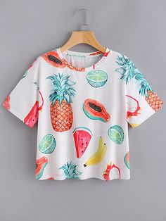 Allover Fruit Print T-shirt WHITE  With high waisted jeans
