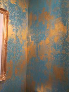 custom metallic walls inspired by wallpaper
