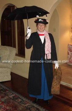 Homemade Mary Poppins Costume: This year my husband coaxed me into being something more attractive than my past costume choices.  I kept nixing all his suggestions until he said Mary