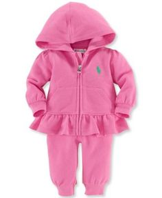 7d116cc803 Ralph Lauren Baby Girls  2-Piece Zip-Front Hoodie   Pants Set Kids - Sets    Outfits - Macy s