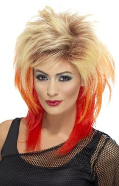 Head banging hair never looked so good! Complete your rocker look with the Blonde and Red Mullet Adult Costume Wig. 80s Themed Fancy Dress, Disco Fancy Dress, 1980s Fancy Dress, Fancy Dress Wigs, 80s Mullet, Mullet Wig, Mullet Hairstyle, Red To Blonde, Blonde Wig