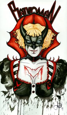 """Batwoman"" in ink and watercolor. Beth Kane impersonating Kate Kane."