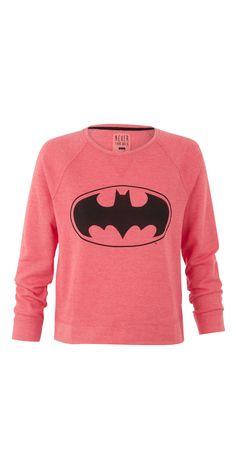 UNDIZ X BATMAN Shake & be sweet in sweat ! Sweat Batman rouge chiné en coton mélangé