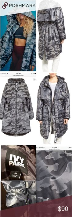 IVY Park Gray Camo Parka Jacket, Size M Preowned Ivy Park Parka, worn once. Purchased from Nordstroms for $185. Size .Med, Very Good condition. No damage. Just like the picture. You'll be at one with the wind as you make your way to your downtown gym in a sleek camo-jacquard parka with an anti-fit, motion-freeing design. Front zip closure Funneled drawstring hood Long sleeves Front and back storm vents Drawstring waist Front flap-patch pockets Curved hem with back vent Fully lined 100%…