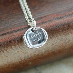 Love Lasts  Wax Seal Necklace French motto  by ShannonWestmeyer, $40.00