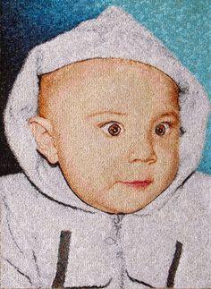 Embroidered portrait custom (size 210x300 mm). Artist Zhanna Plaksina.