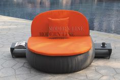 Modern furniture | Contemporary furniture | Nightclub Furniture | Designer Furniture | Outdoor Collection | Outdoor Sofas / Chairs / Cabanas | PLEASE CHOOSE THE DESIRED WICKER BASE: BLACK or WHITE | All-Weather Contemporary Black Rattan Outdoor Bed with Pillow and Cushion with Built in Pull Out Nightstands