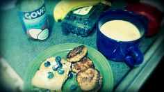 "My mom was feeling blue, so i stayed a few days with her in Morrisville PA. Blueberry Cornbread, (organic corn meal) 85% lean ground turkey handmade sausage, banana coconut smoothie- ""I'll always love my mama..."""