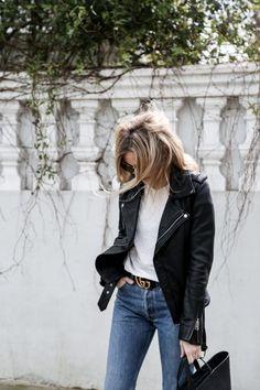 Fashion Gone rouge / black leather jacket / white tee shirt / blue jeans / black purse handbug