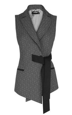 Italian geometric jacquard belted waistcoat, with contrast flattering tie waist . Italian geometric jacquard belted waistcoat, with contrast flattering tie waist detail Mode Outfits, Casual Outfits, Fashion Outfits, Womens Fashion, Fashion Details, Look Fashion, Fashion Design, Casual Mode, Mode Hijab