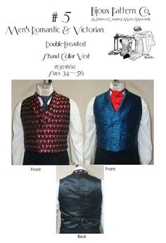 Patterns of Time 1830-1860 Men's Victorian Double-Vested Shawl Collar Vest Pattern by Laughing Moon Mercantile, Victorian-Edwardian-Titanic