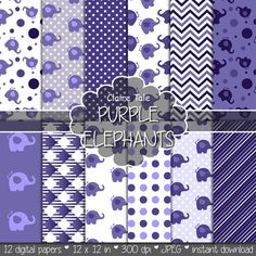 "Elephant digital paper: ""PURPLE ELEPHANTS"" with elephants, polka dots, stripes, gingham, chevrons in purple"