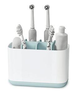 Shop Joseph Joseph - Easy-Store Toothbrush Caddy Large at Peter's of Kensington. View our range of Joseph Joseph online. Why in the world would you shop anywhere else for Joseph Joseph? Bathroom Sink Organization, Bathroom Caddy, Sink Organizer, Bathroom Ideas, Joseph Joseph, Dental Floss, Manicure Set, Neat And Tidy, Bathroom Accessories