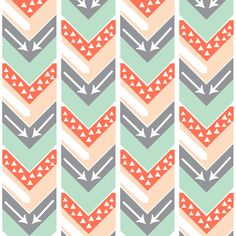 Coral, Blush, Grey, Mint Arrow Chevron - Triangles and Arrows fabric by modfox on Spoonflower - custom fabric