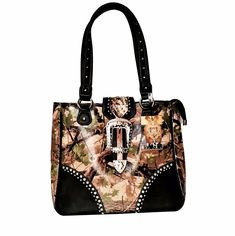 "Back zipper conceal carry and phone pocket. Beautiful Western Camouflage Handbag with Matching Wallet. The Purse/ Wallet Set only applies to ""Pink"", ""Purple"", ""Blue"", ""Orange"", ""Green"" Color. Back coin pouch. Concealed Carry Purse, Travel Handbags, Wallets For Women, Concealer, Crossbody Bag, Shoulder Bag, Purses, Montana, Clearance Sale"