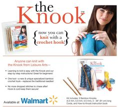Knook kit, knitting with a crochet hook! I've tried(unsuccessfully) learning how to knit, maybe this would work better since I already know how to crochet. Crochet Needles, Crochet Stitches, Crochet Hooks, Loom Knitting, Knitting Patterns, Crochet Patterns, Tunisian Crochet, Knit Crochet, Diy Craft Projects