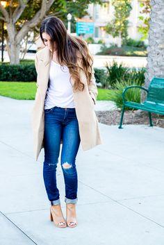 Perfect fall fashion - camel coat, booties, distressed denim. Fashion blog