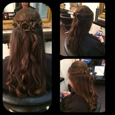 A pretty flower look created with the hair with soft loose curls!