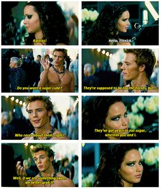 "Finnick and Katniss. ""ANYBODY ELSE THINK HE MIGHT BE TALKING ABOUT PEETA?"" hmm"