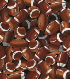 Novelty Cotton Fabric-FootballsNovelty Cotton Fabric-Footballs,