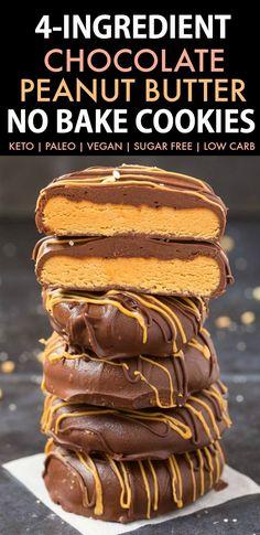 Keto Cookies, Cookies Gluten Free, No Bake Cookies, Cookies Et Biscuits, Paleo Dessert, Dessert Recipes, Peanut Butter No Bake, Chocolate Peanut Butter Cookies, Chocolate Chips