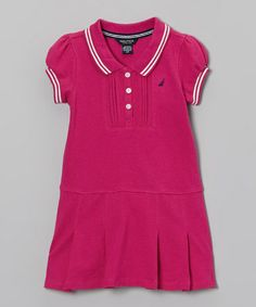 This Bright Pink Piqué Dress - Infant, Toddler & Girls by Nautica is perfect! #zulilyfinds                    16.99