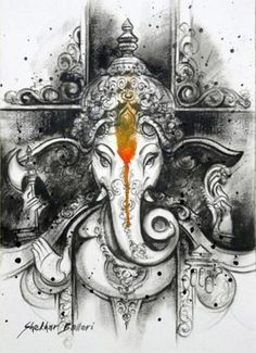 Ganesh, also known as Ganapati, is immediately recognizable as the elephant-headed god. He is the god of wisdom and learning, as well as the remover of obstacles, and consequently the sign of auspiciousness. Lord Ganesha Paintings, Ganesha Art, Krishna Art, Shri Ganesh, Canvas Painting Designs, Painting Tips, Painting Art, Watercolor Painting, Indian Gods