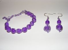 Purple Wire Fashion Jewelry Set Earings Bracelet-Ships by LoveLaly